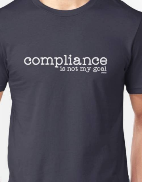 "Image of Navy Ollibean tee shirt ""Compliance is not my goal"" and Ollibean logo in white."