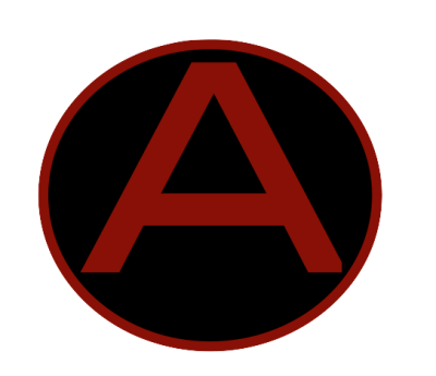 Image description: a scarlet capital A is in the middle of black circle with scarlet trim .