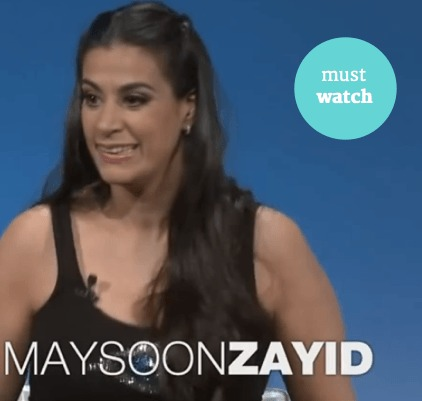 image description . Photograph of Maysoon Zayid, woman with long brown hair . She is smiling and wearing a black tank top. White text reads