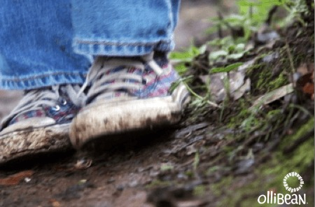 Photograph of lower part of jeans and multicolored plaid sneakers. The sneakers have mud on them and the person wearing them is standing on damp earth . There is green moss and foliage on the right side of the image and Ollibean logo in white. Ollibean logo is a circle composed of various shapes and sizes of equal signs and the word Ollibean.