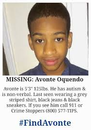 "photo of teenage boy. He has brown hair and skin / Text Reads "" Missing Avonte Oquendo#FindAvonte"""