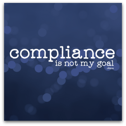 """Compliance is not my goal"" and Ollibean logo in white on blue background with blue circles. Quote from Henry Frost"