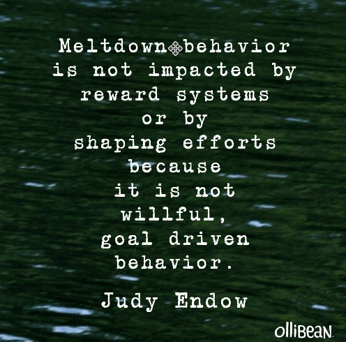 """ Meltdown behavior is not impacted by reward systems or by shaping efforts because it is not willful, goal driven behavior."" Judy Endow on Ollibean"
