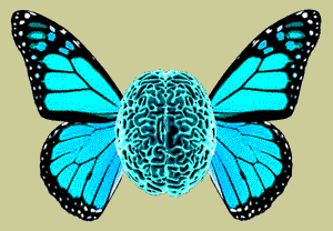 [Image Description: The NeuroFly: top view of a bright blue human brain, with bright blue butterfly wings sprouting out of the sides.]