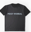 Ollibean Unisex POST-VERBAL black t-shirt with blue text