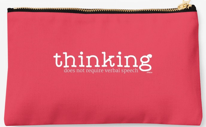 "Orange Studio pouch ""Thinking Does not Require Verbal Speech"" Ollibean"