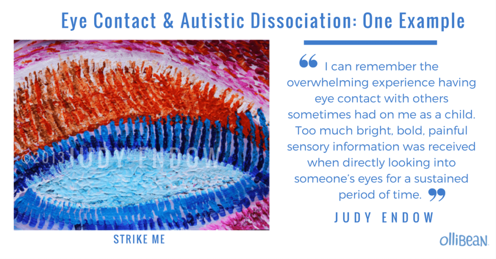 Eye Contact and Autistic Dissociation One Example Photo of Judy Endow's art