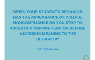 When your student's behavior has the appearance of willful noncompliance do you stop to ascertain comprehension before ascribing meaning to the behavior? Judy Endow, MSW on Ollibean. Ollibean logo is a circle made up of equal signs of different shapes, colors, and sizes.