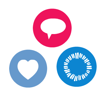 Symbol of a heart, a conversation bubble, and Ollibean logo.