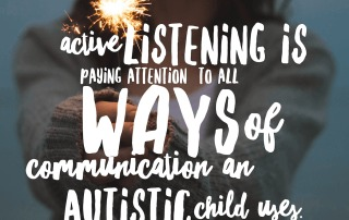 Photo of a girl holding a sparkler. Text reads: Active listening is paying attention to all possible ways of communication an Autistic child uses. Amy Sequenzia on Ollibean