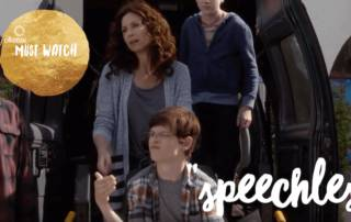 "Text : Speechless Ollibean Must Watch. The family in the comedy ""Speechless"" standing by van."