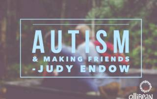 Image of the two people sitting in the woods with backs facing camera. Text reads, Autism and Making Friends by Judy Endow on Ollibean