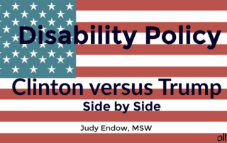 American Flag with text. Disability Policy Clinton versus Trump, Judy Endow, MSW on Ollibean