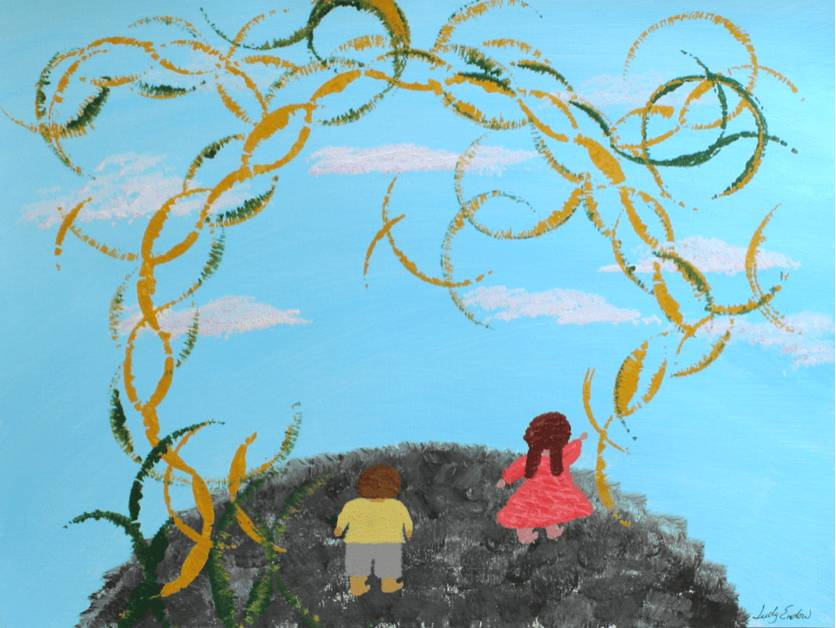 One Person Tail Intrusion, Art by Judy Endow. Back of child in red dress and child in yellow shirt standing on earth with sky and sun sparkles.
