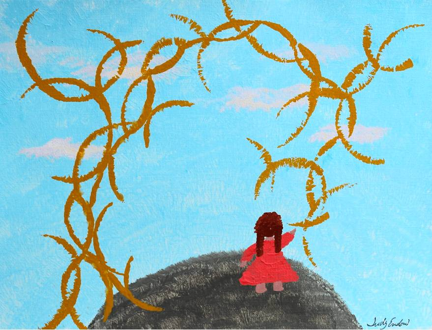 One Person Tail , Art by Judy Endow. Back of child standing on earth with sky and sun sparkles.