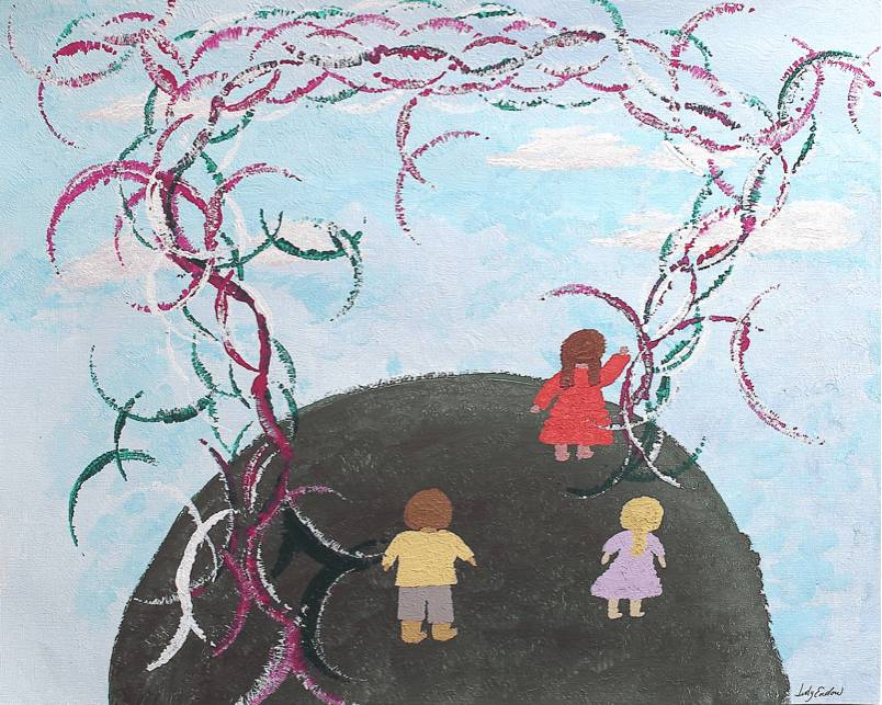 Two Person Tail Intrusion, Art by Judy Endow. Back of child in red dress, child in pink dress and child in yellow shirt standing on earth with sky and sun sparkles.